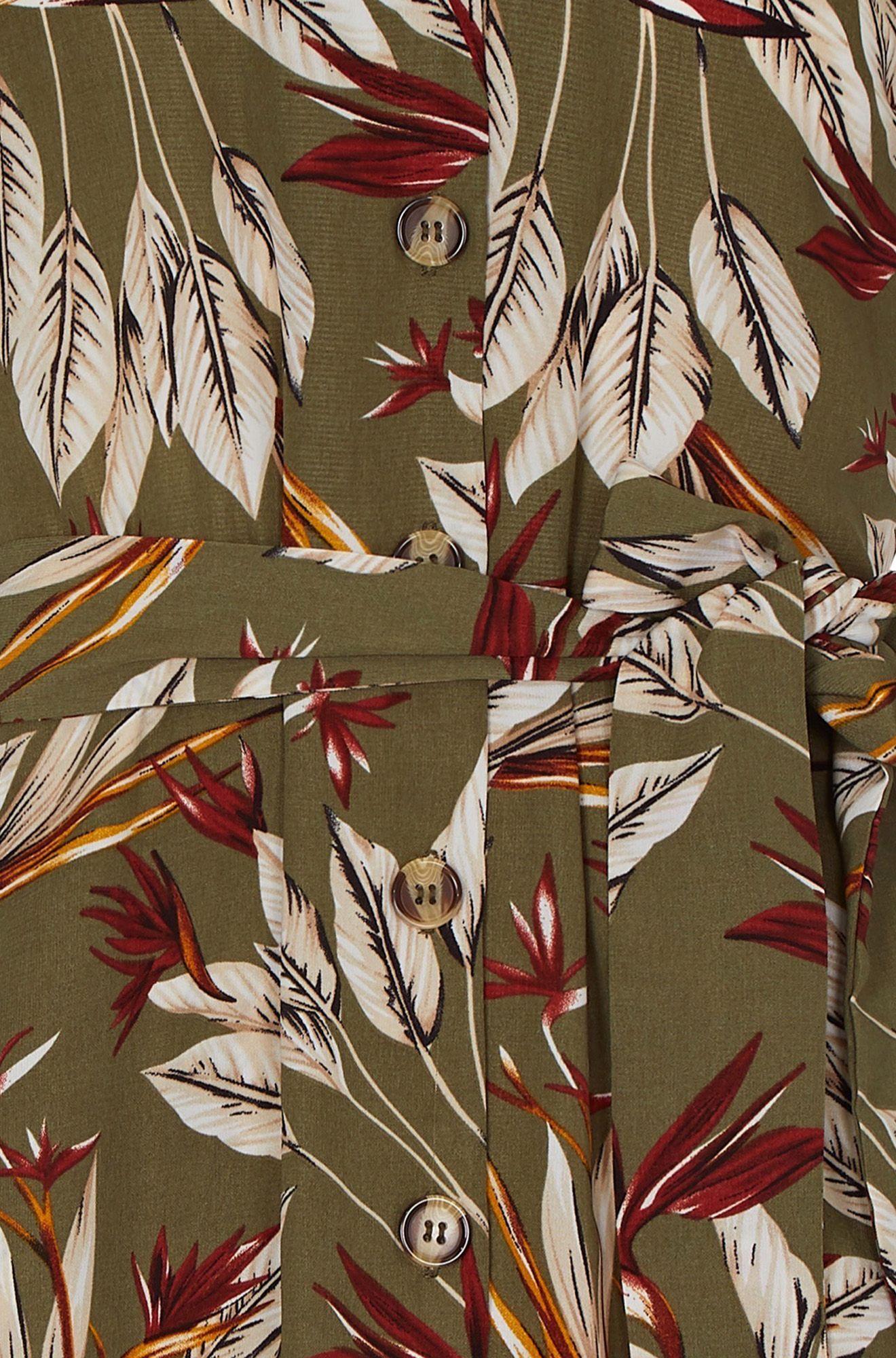 Leaf Print Shirt Dress With Tie Belt