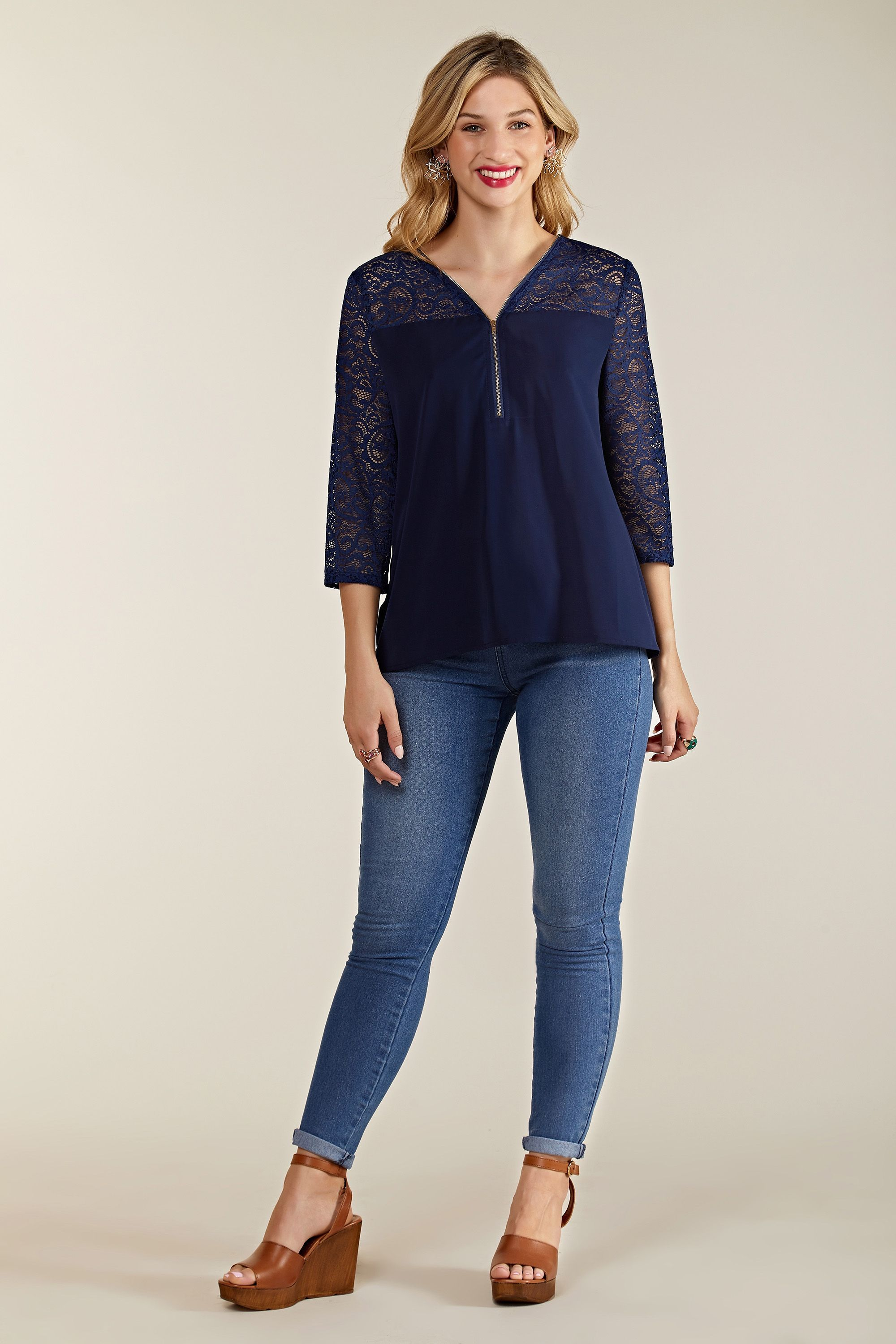 Navy Lace Top With Zip Detail