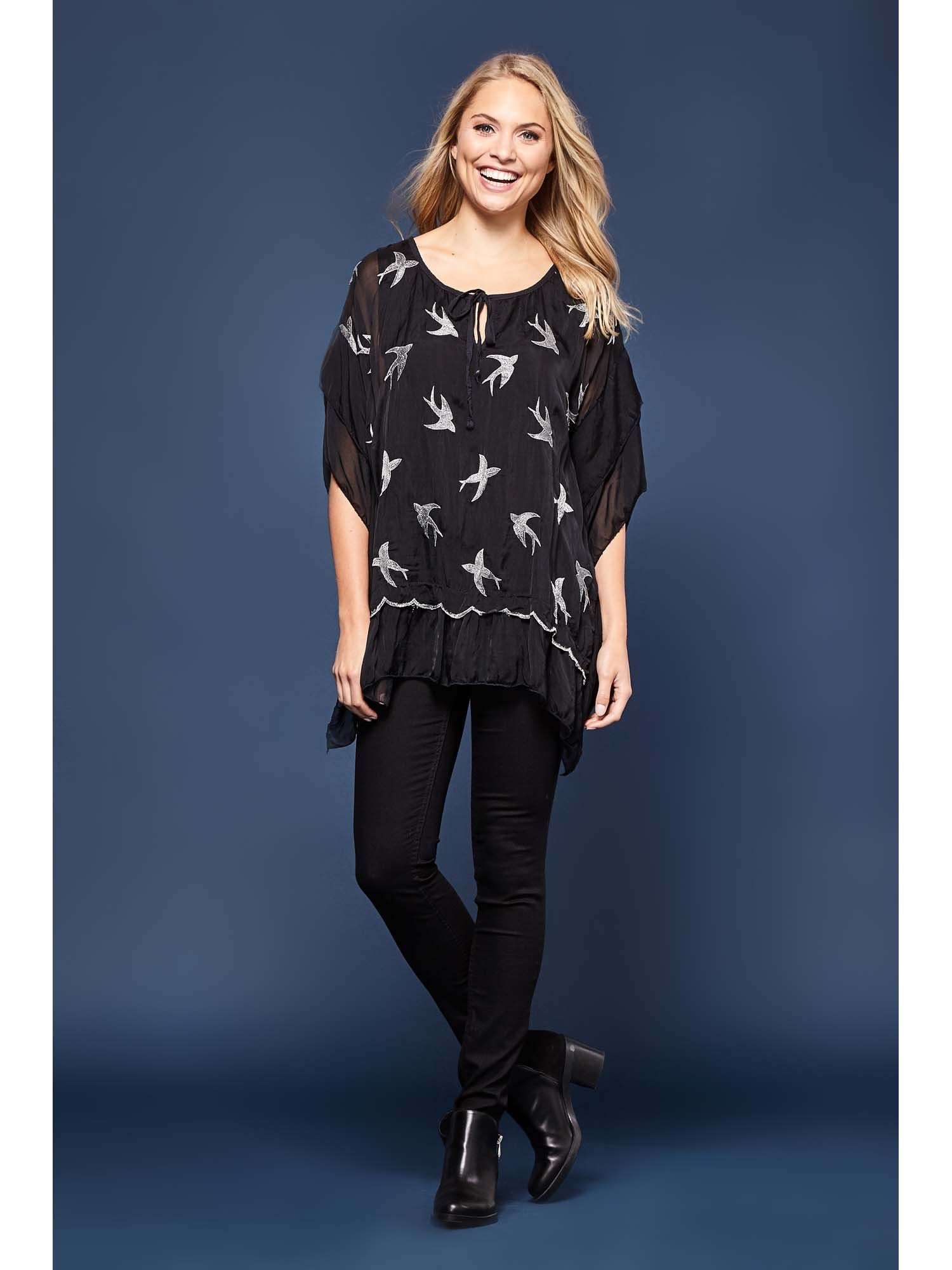 Embroidered Bird Frill Top