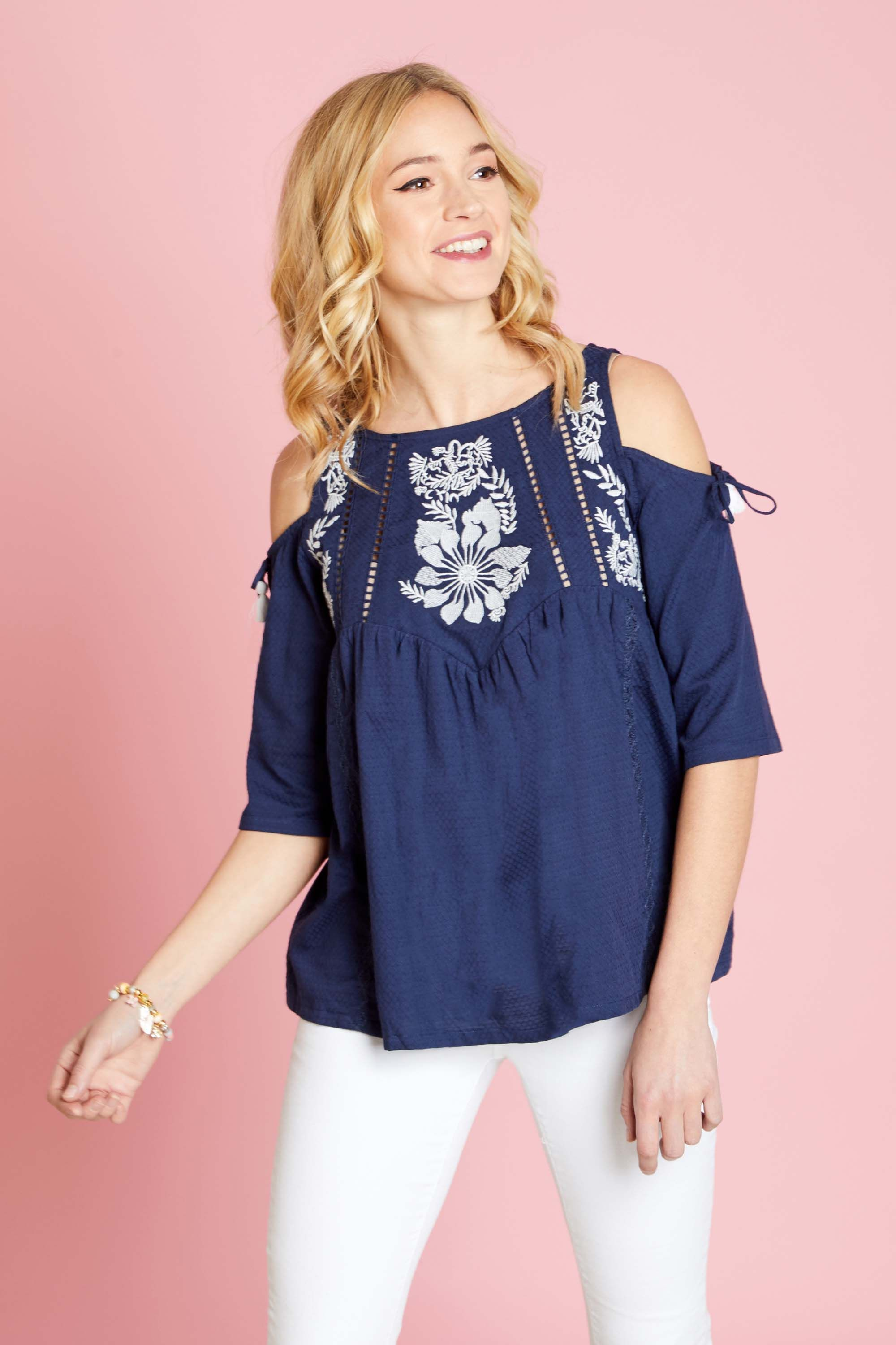 Embrodiery Cold Shoulder Top