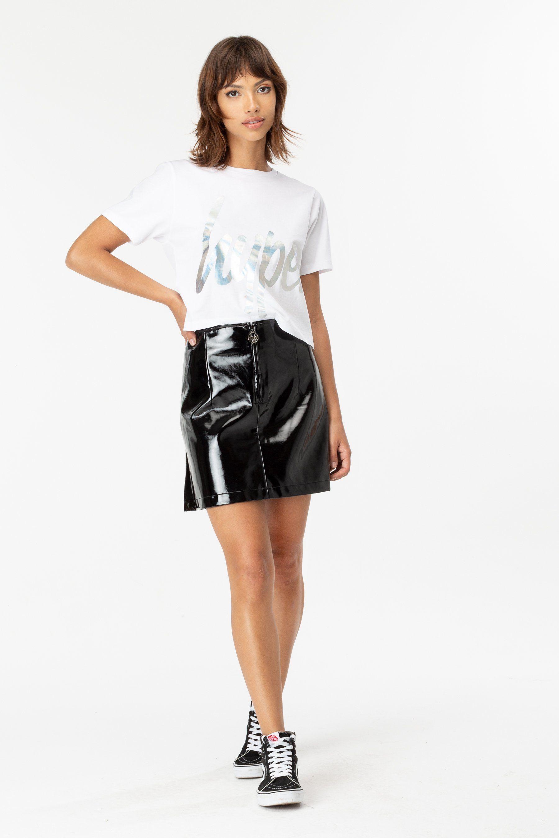 Hype White Iridescent Script Womens Crop T-Shirt