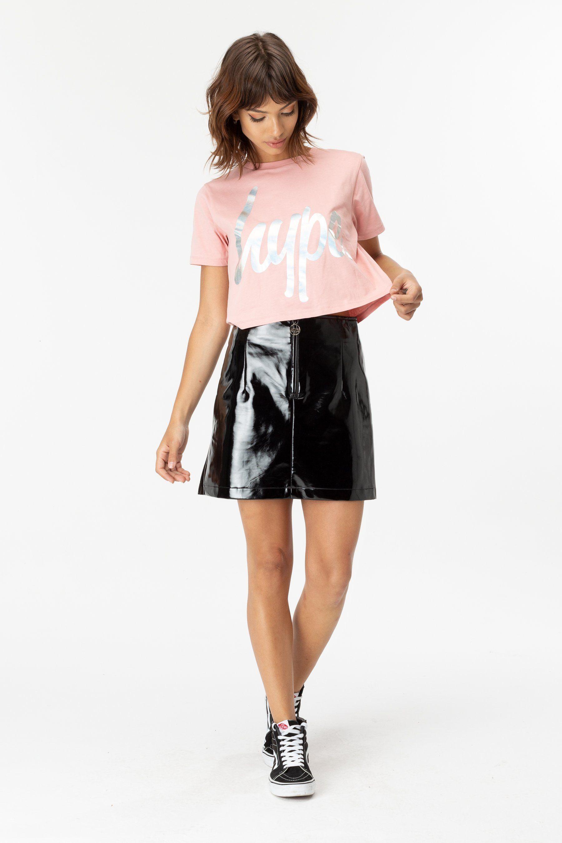 Hype Pink Iridescent Script Womens Crop T-Shirt