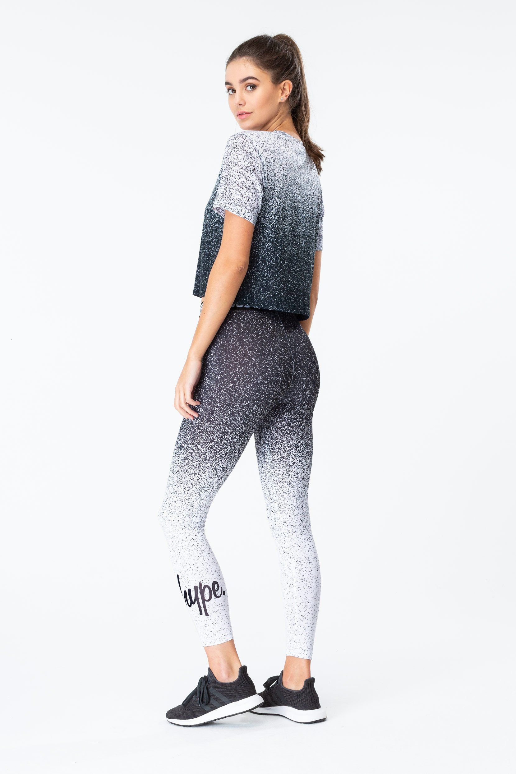 Hype Black Speckle Fade Womens Crop T-Shirt