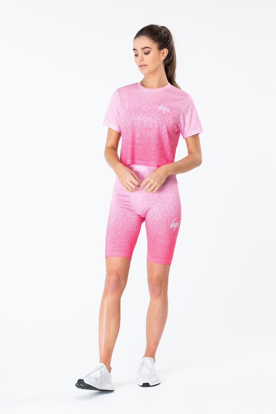 Hype Pink Speckle Fade Womens Crop T-Shirt