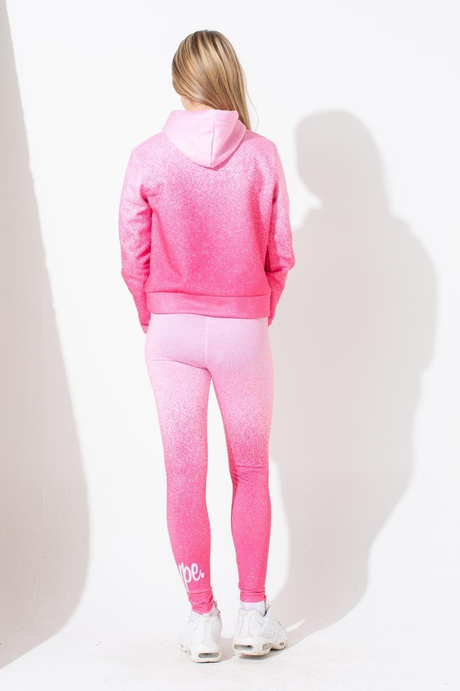 Hype Pink Speckle Fade Kids Crop Hoodie