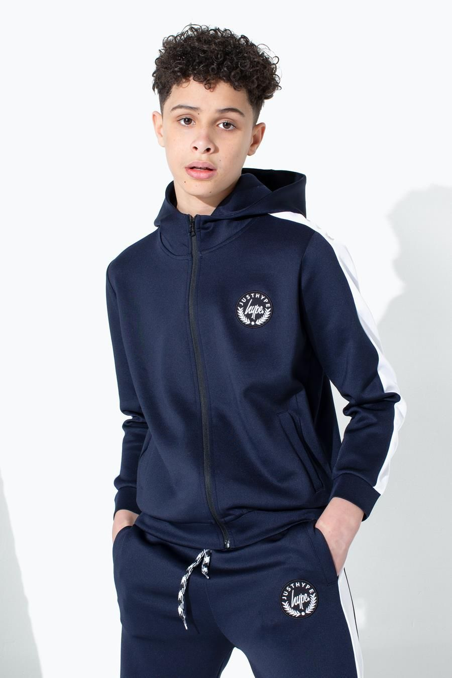 Hype Navy Crest Kids Track Hoodie
