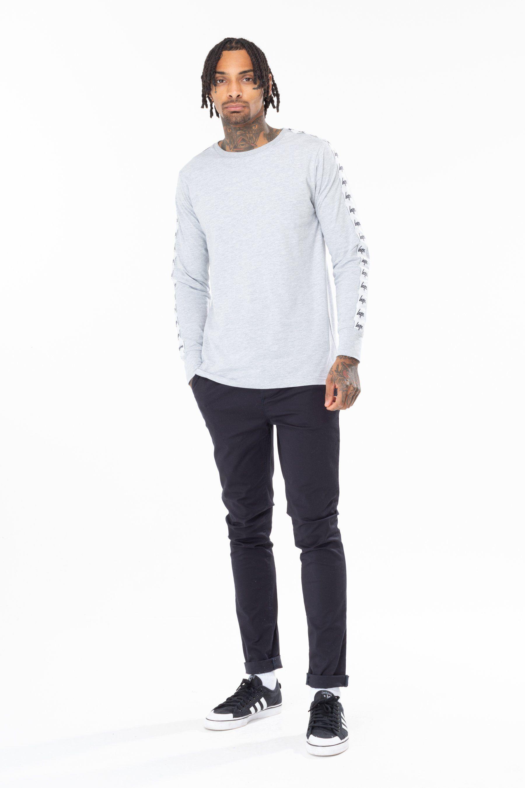 Hype Grey Tape Sleeve Mens L/S T-Shirt