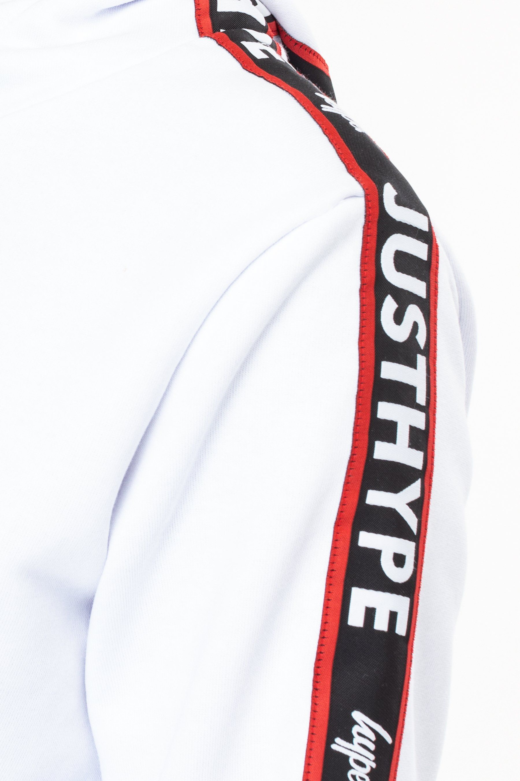 Hype White Jh Race Tape Womens Crop Pullover Hoodie 10