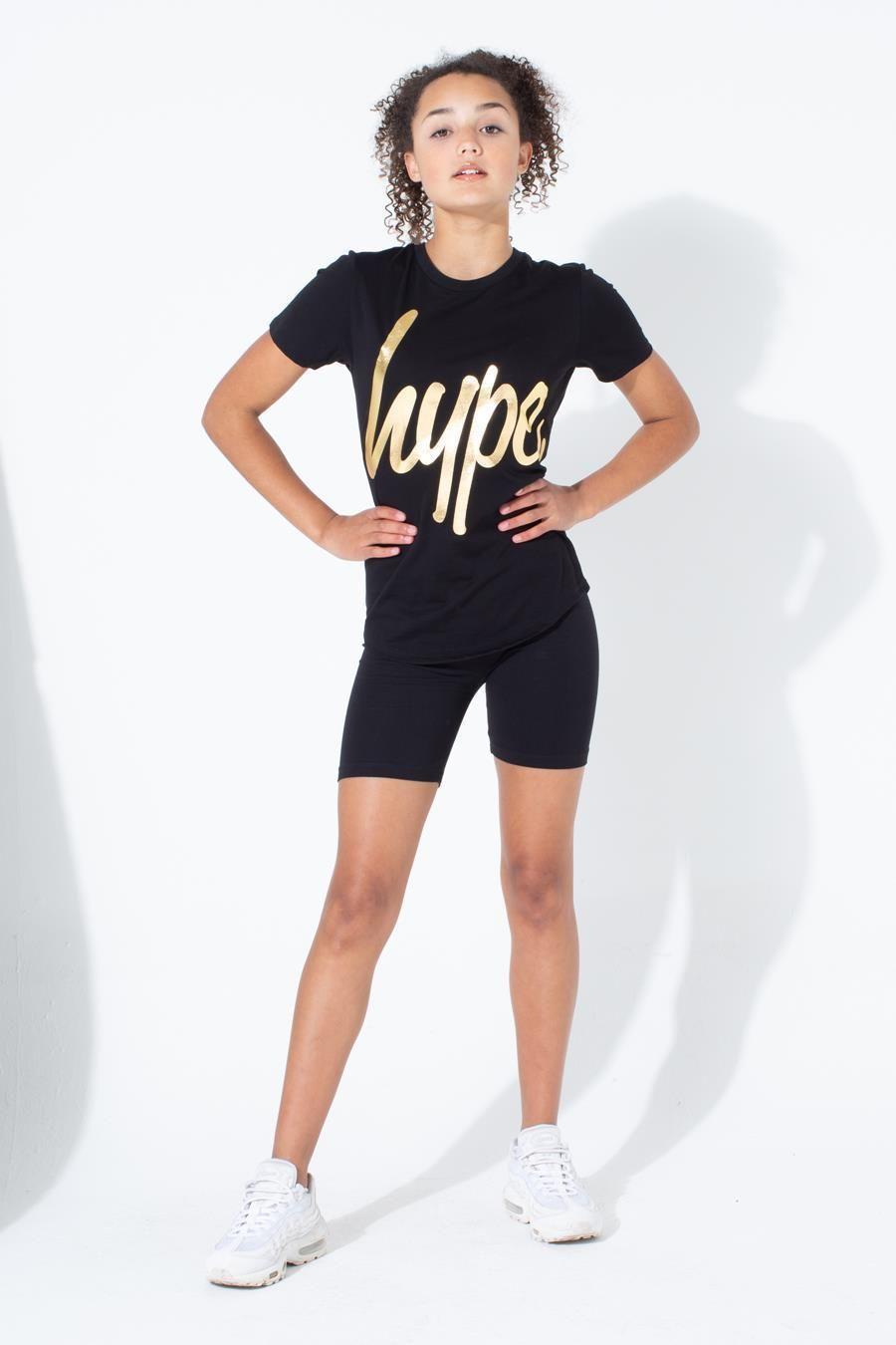 Hype Gold Metallic Script Kids T-Shirt