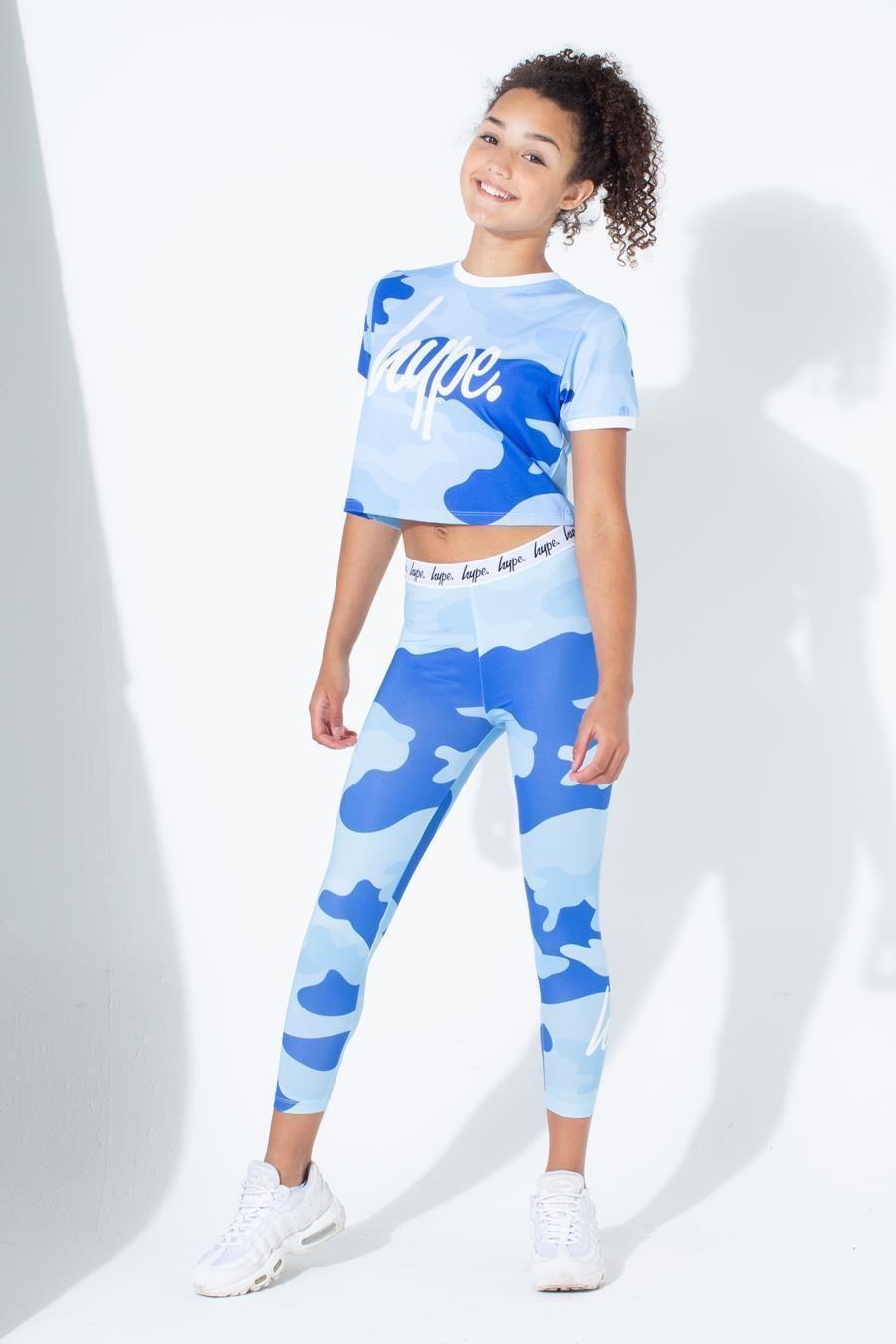 Hype Blue Camo Ringer Kids Crop T-Shirt