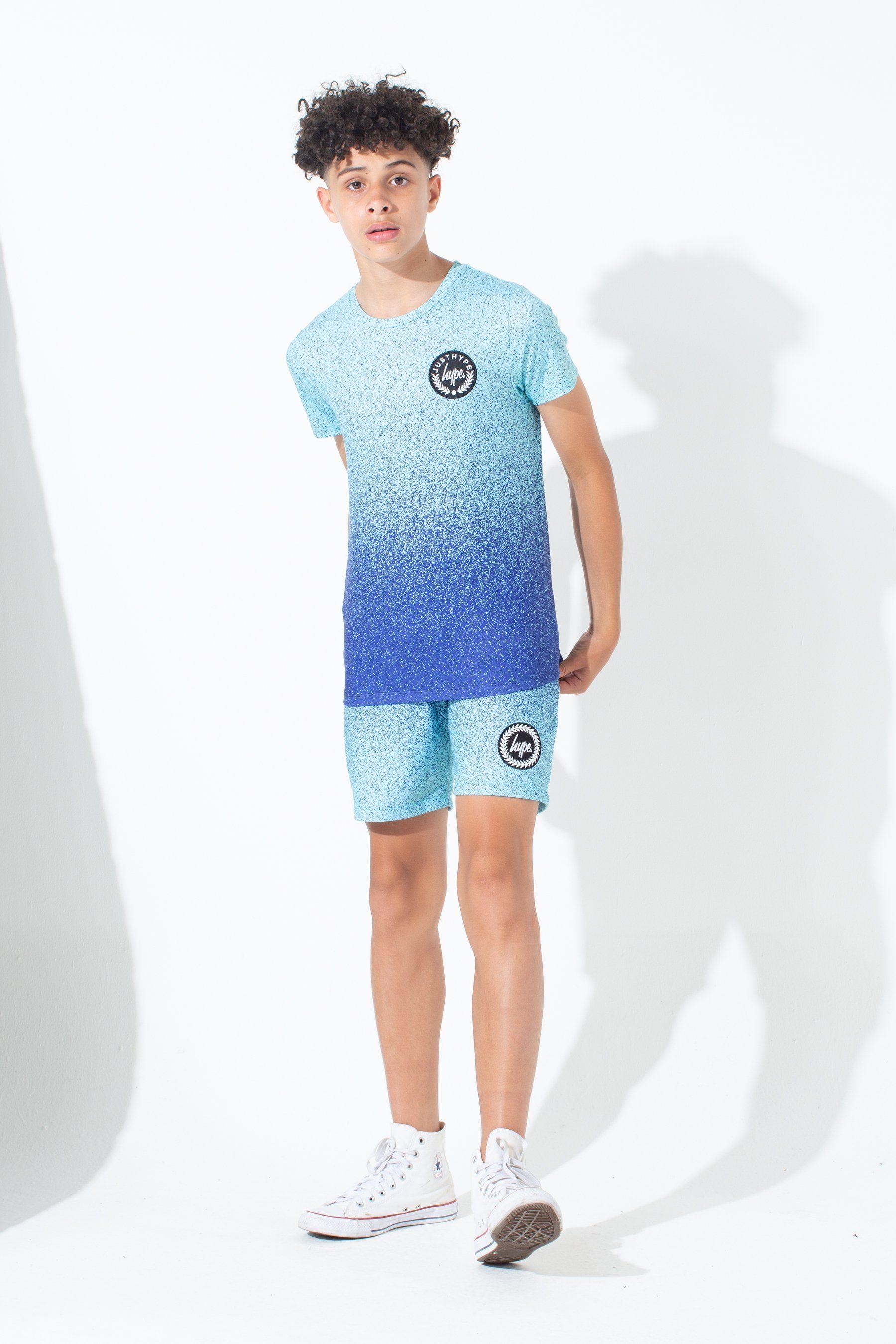 Hype Mint Blue Speckle Fade Kids Shorts
