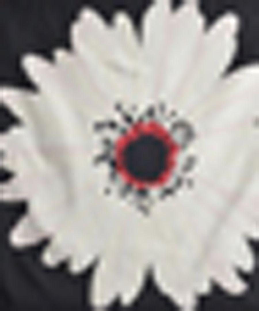 Daisy black silk scarf 90cm