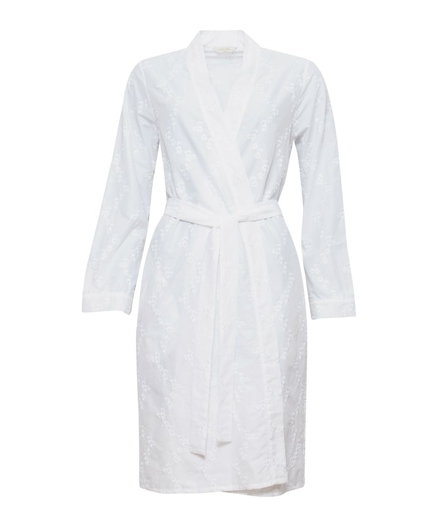 Pearl white cotton embroidered short robe