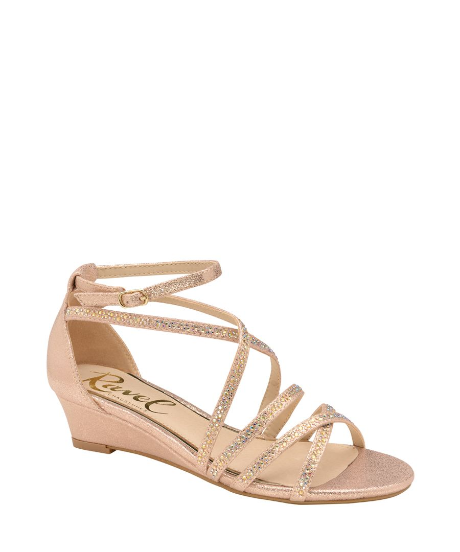Rose gold-tone strap wedge sandals