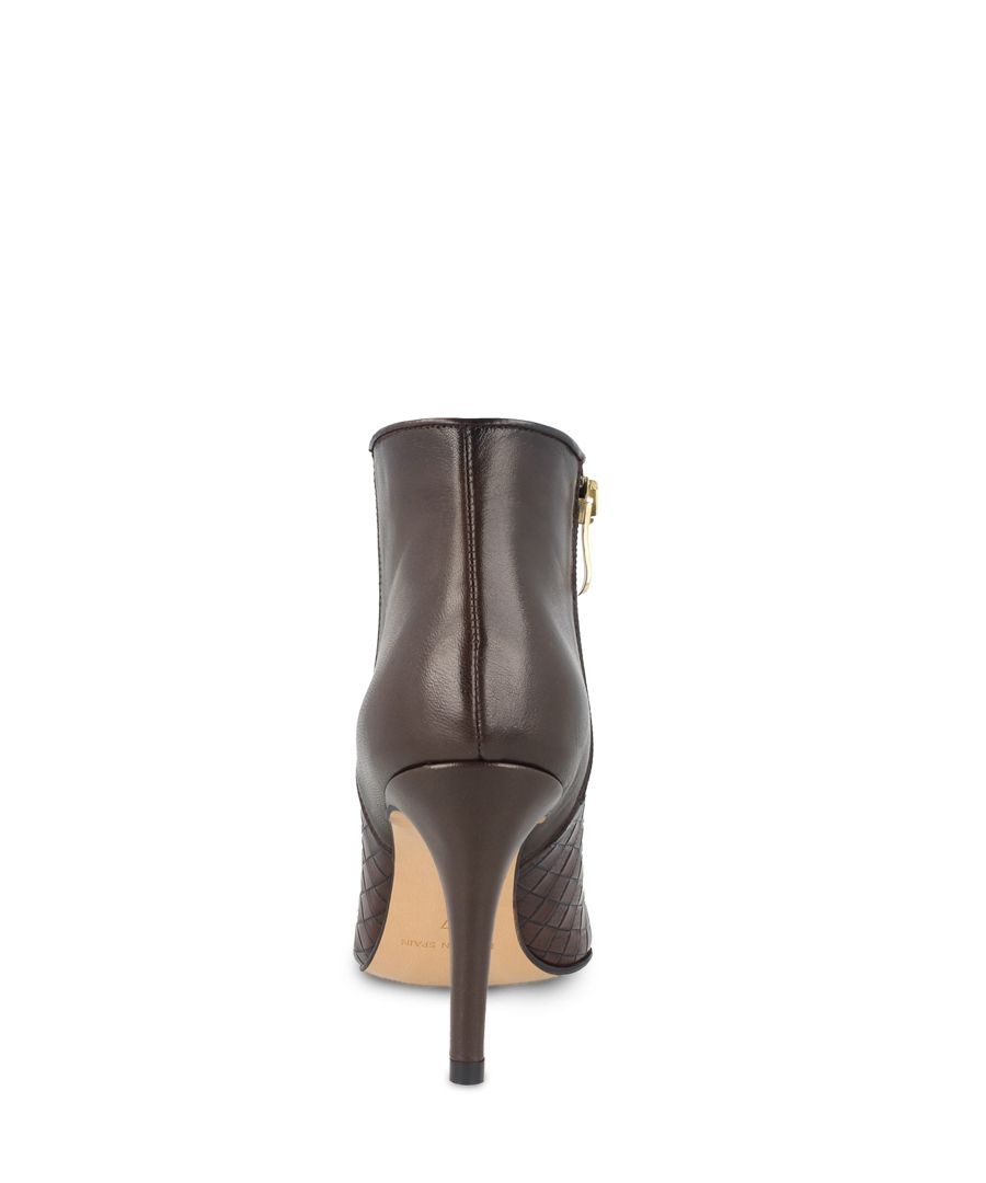 Brown leather textured ankle boots