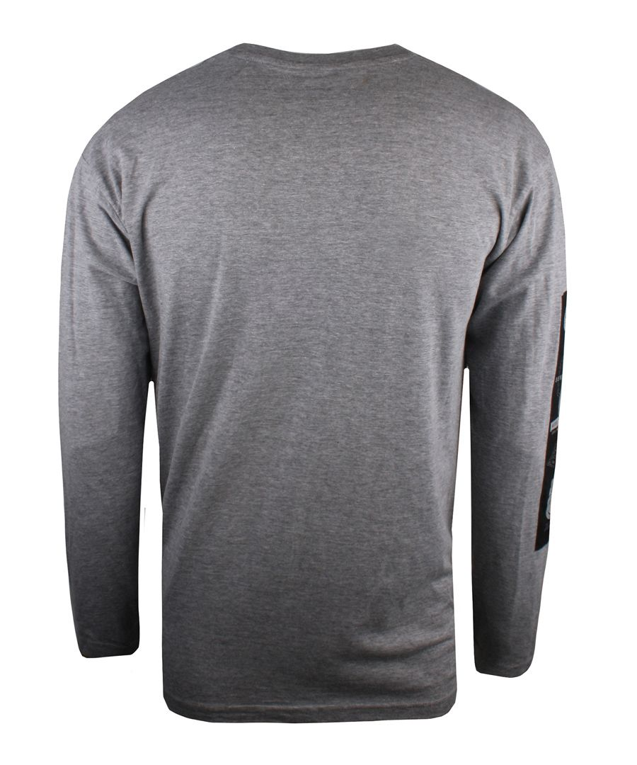 Grey cotton blend long sleeve top