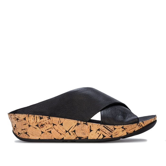 Women's Fit Flop Kys Leather Slide Sandals in Black
