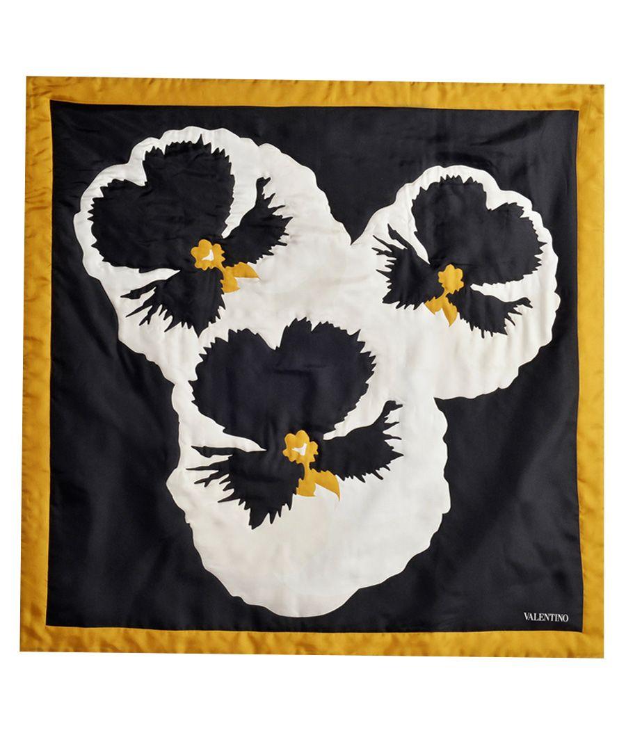 Pansy black silk scarf 90cm