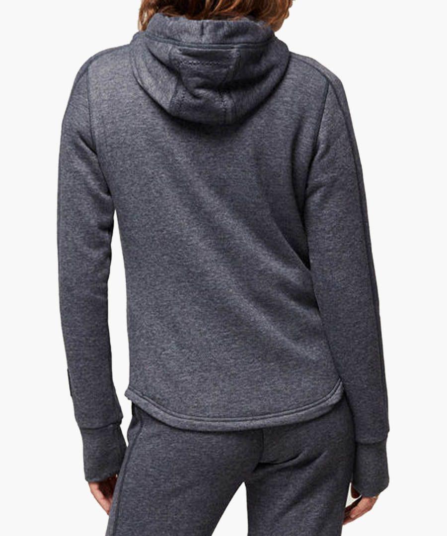Ink blue cotton blend hoodie