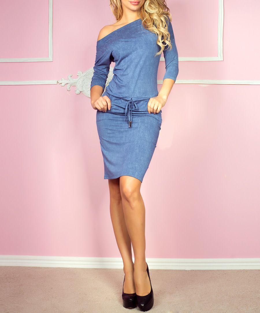 Blue denim off-shoulder dress
