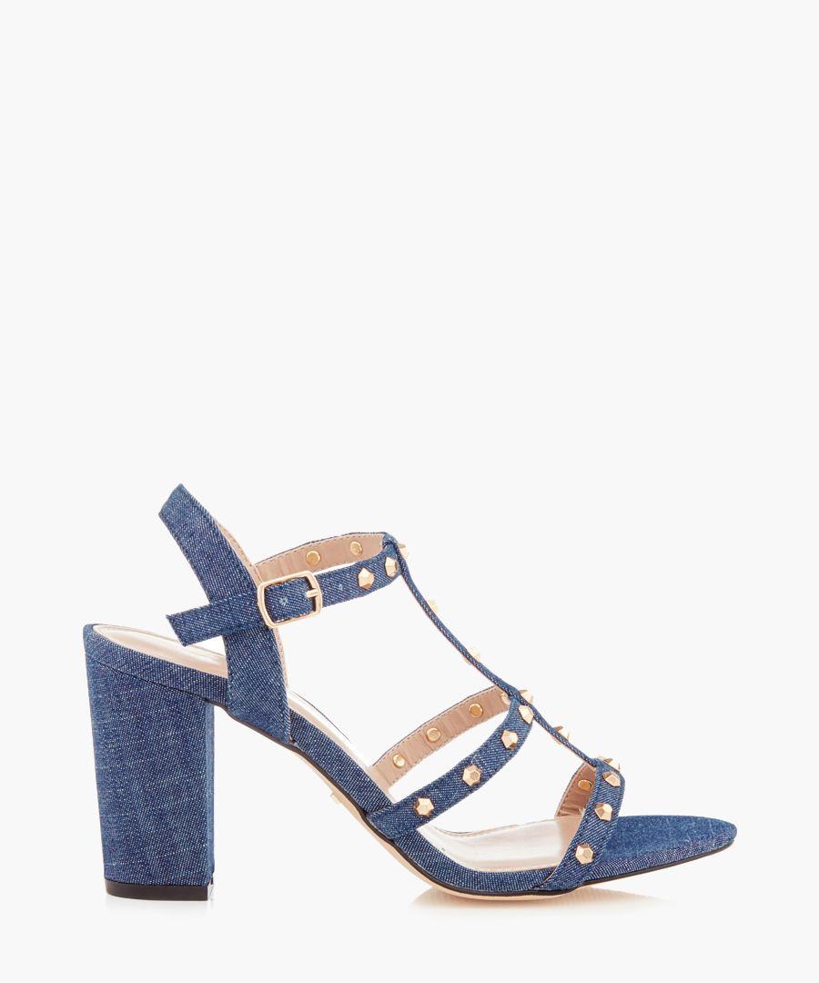 Kansas denim blue block heels