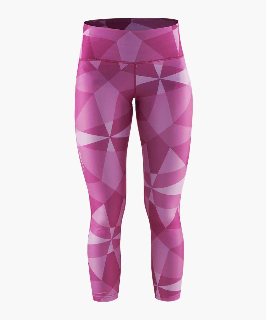 Womens pure purple geometric leggings