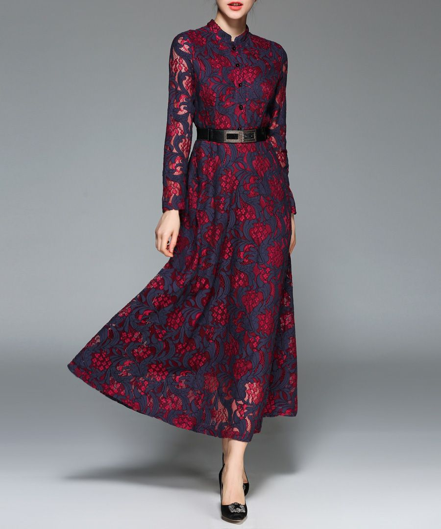 Navy & red Mandarin collar midi dress