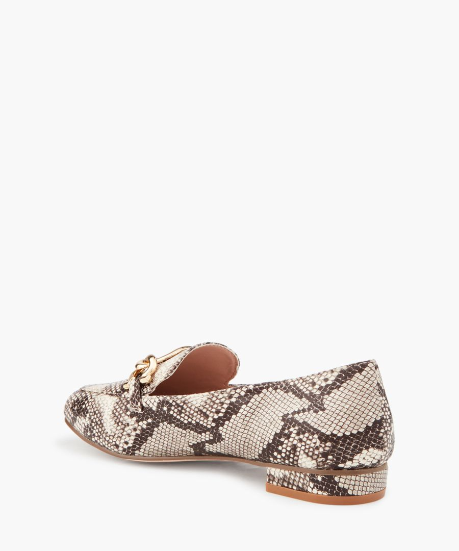 Marble beige combo pattern moccasins