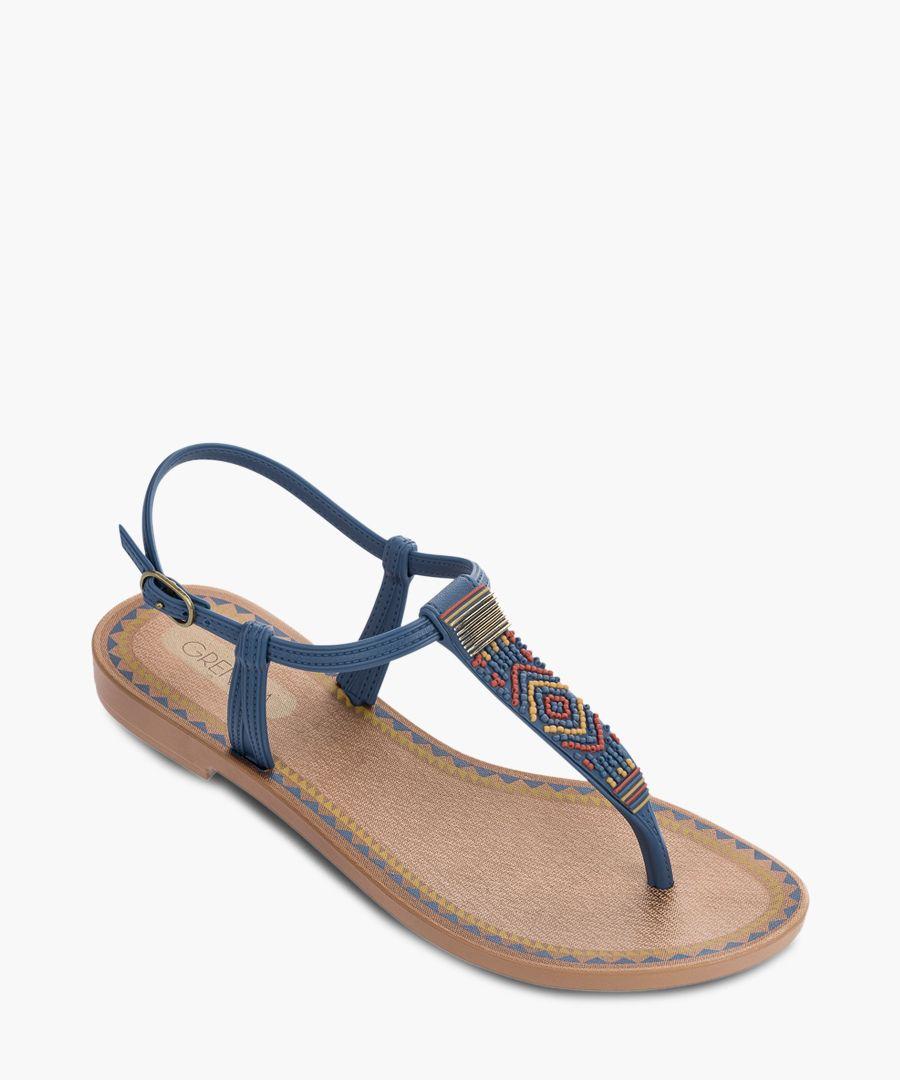 Acai Blue aztec fabric sandals