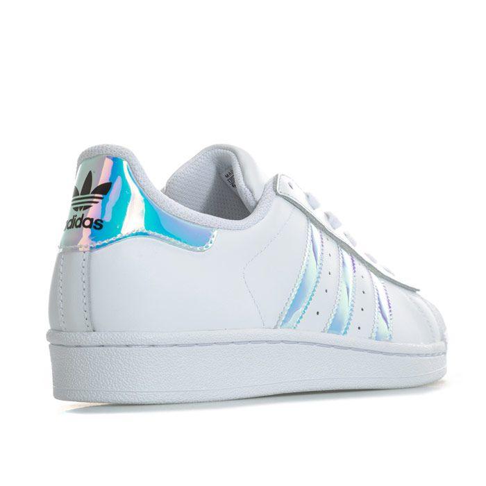 Girl's adidas Originals Junior Superstar Iridescent Trainers in White