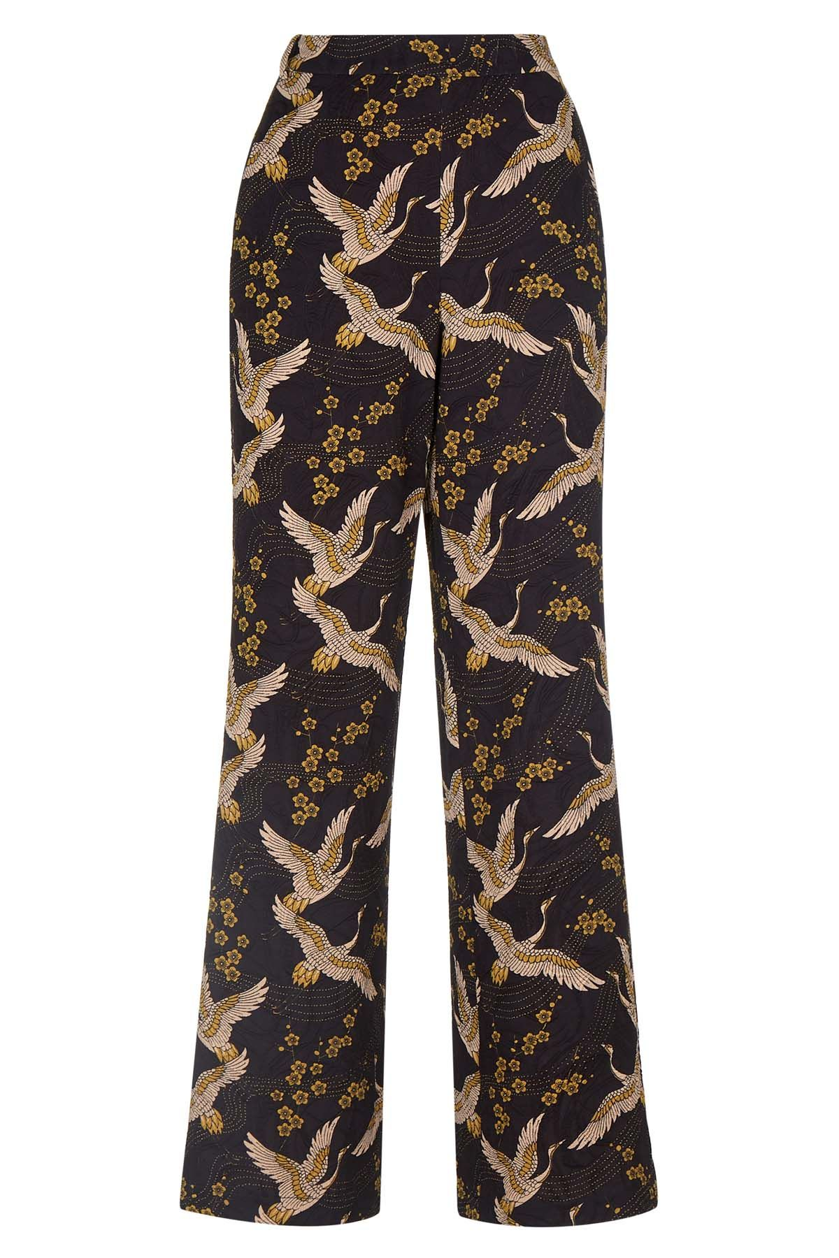Bird Print Straight Leg Trousers in Black