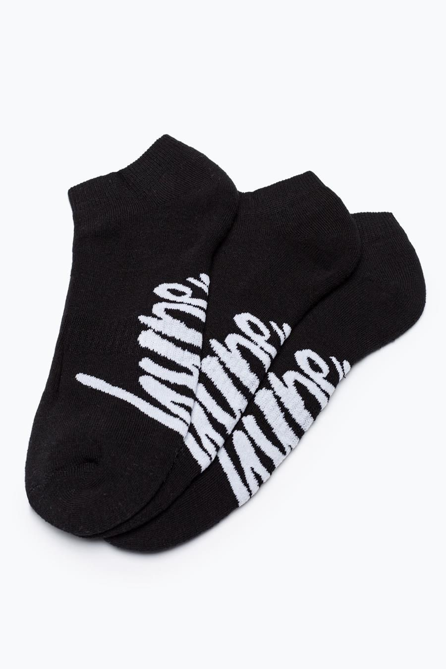 Hype Black Script Trainer Socks 3X Pack
