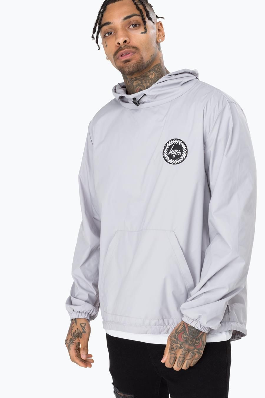 Hype Grey Crest Mens Pullover Jacket