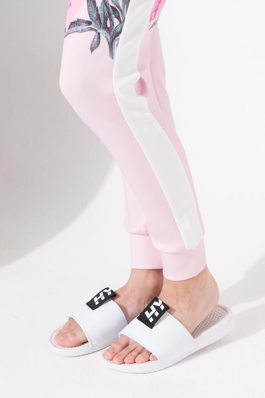 Hype Pink Border Floral Kids Track Pants