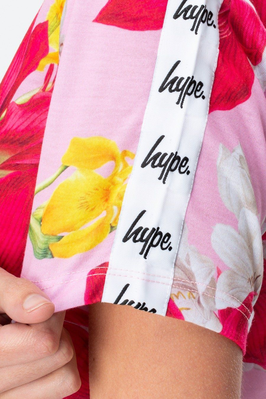 Hype Pink Floral Tape Womens Crop Tee