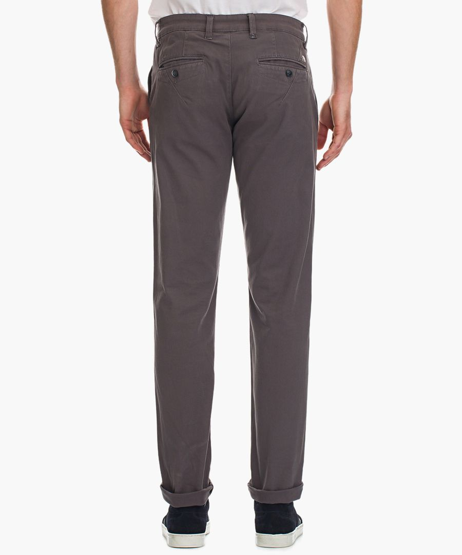 Dim grey cotton blend trousers