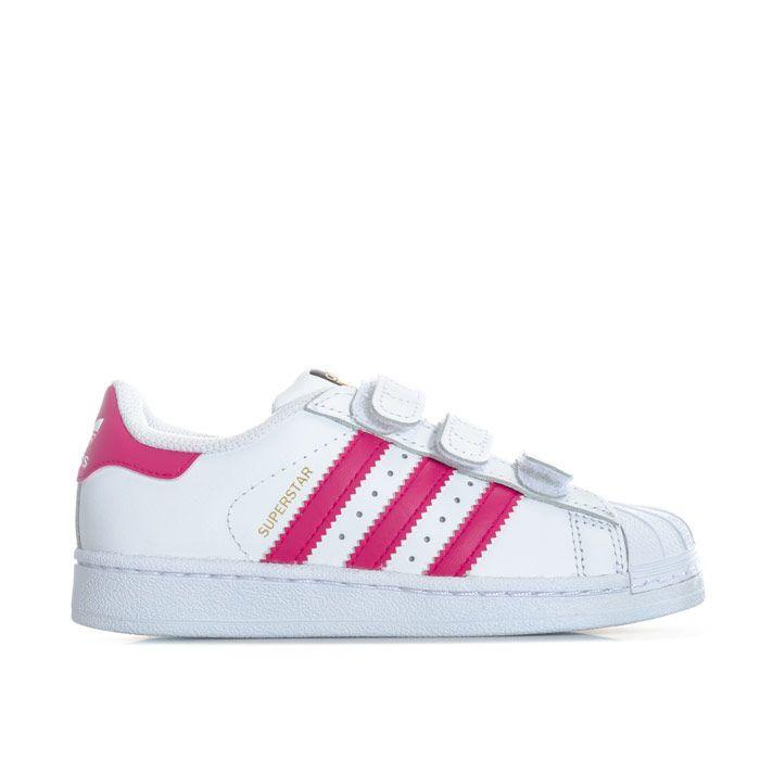 Girl's adidas Originals Children Superstar Trainers in White pink