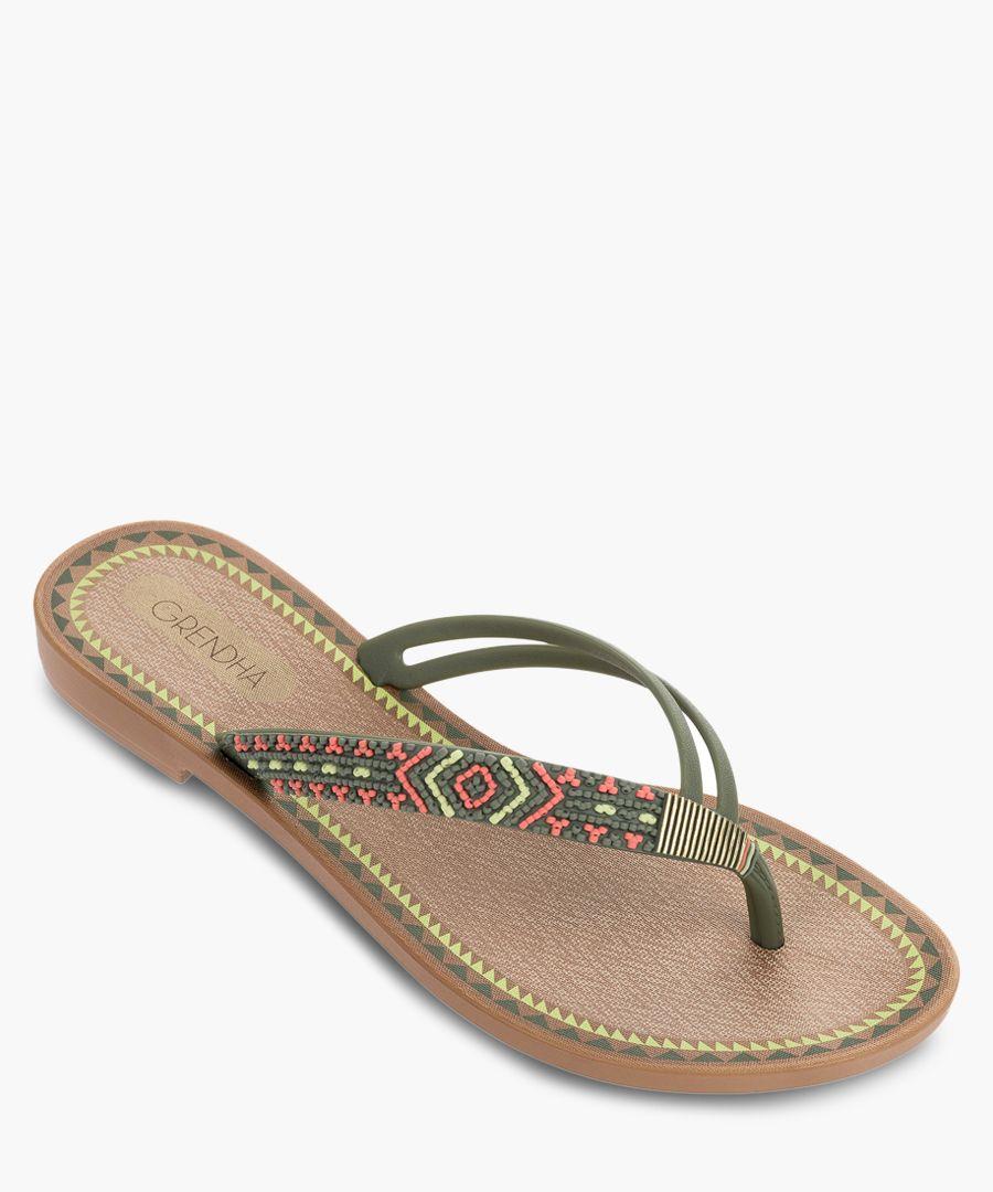 Acai khaki aztec fabric flip flops