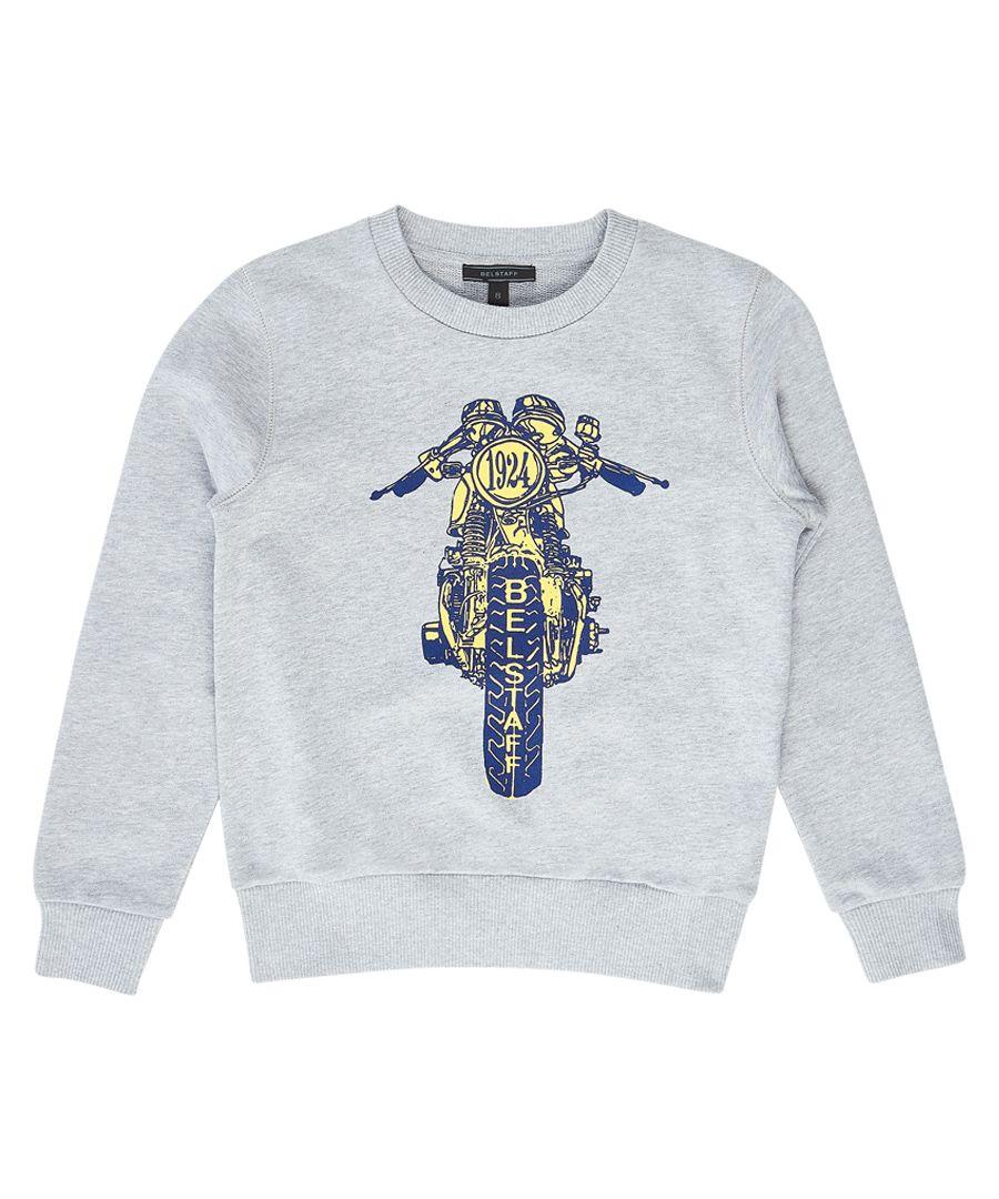 Riley Rider grey & blue graphic jumper