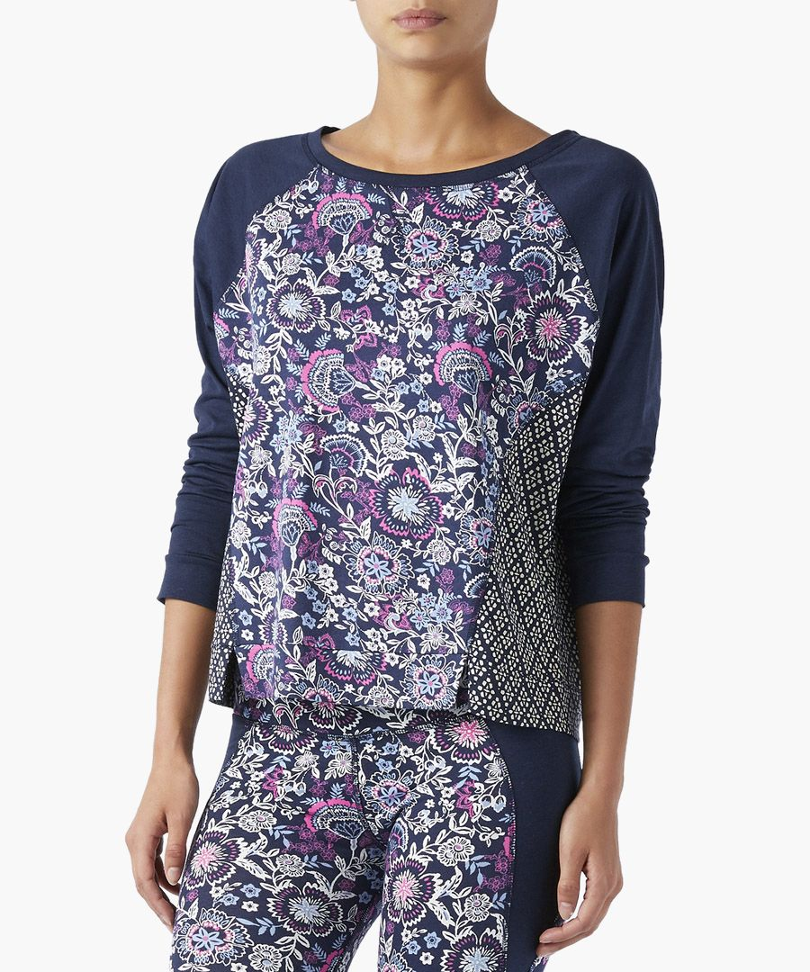 Caroline navy print blouse