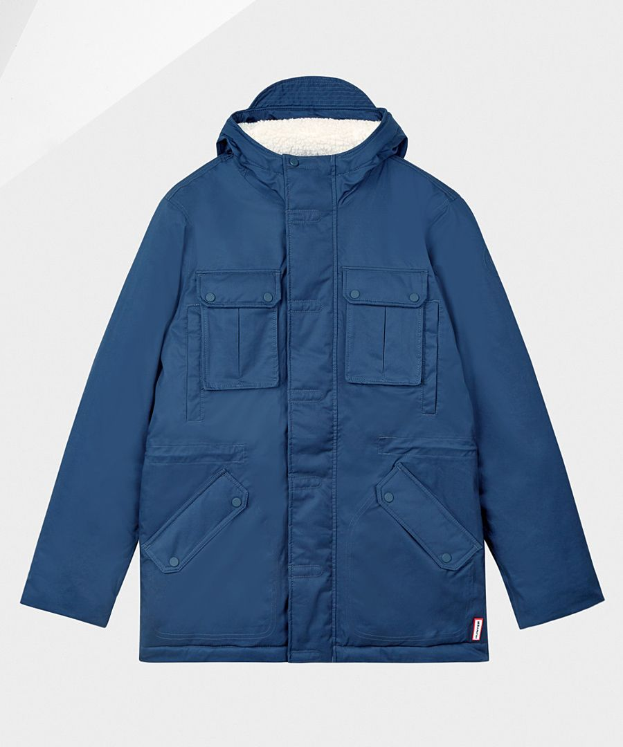 Navy pure cotton insulated anorak
