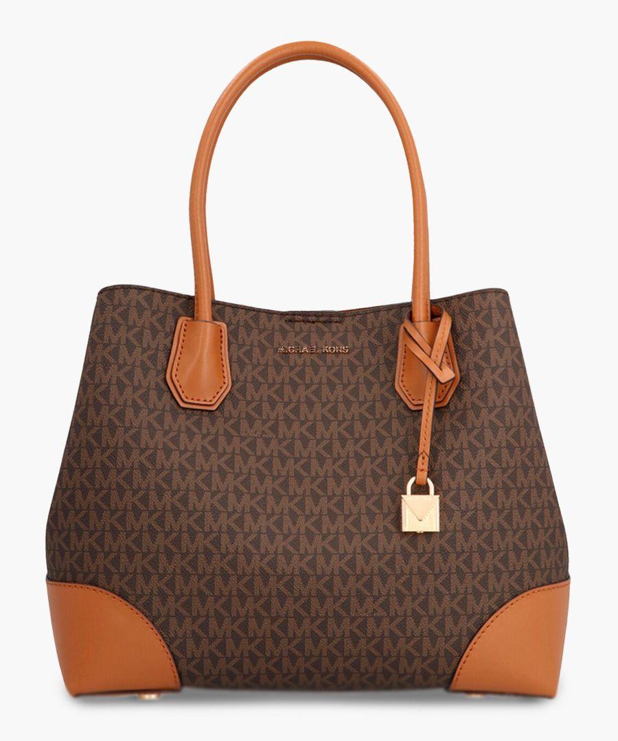 Brown leather monogrammed top handle tote