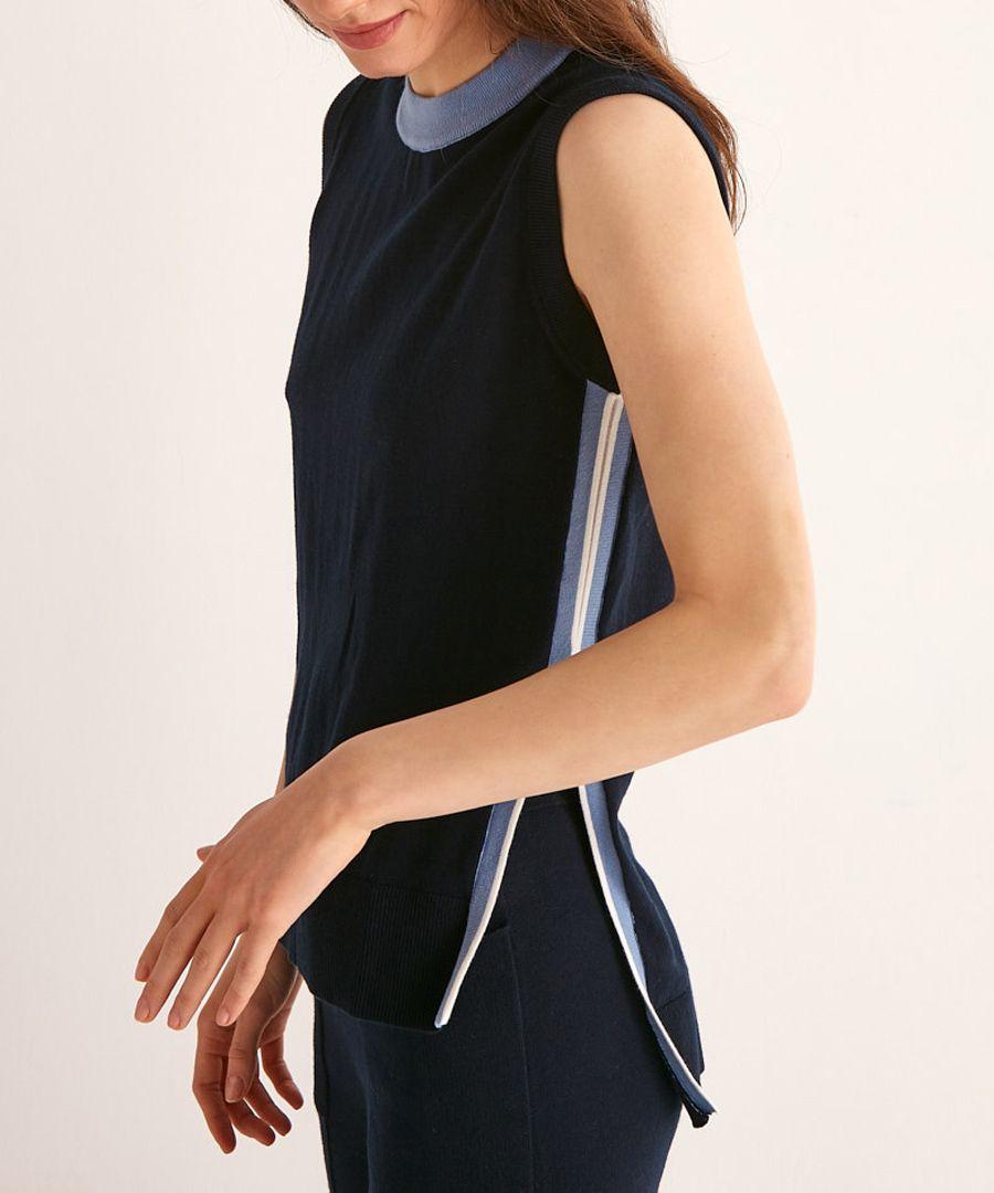 Navy and blue cotton split side jumper