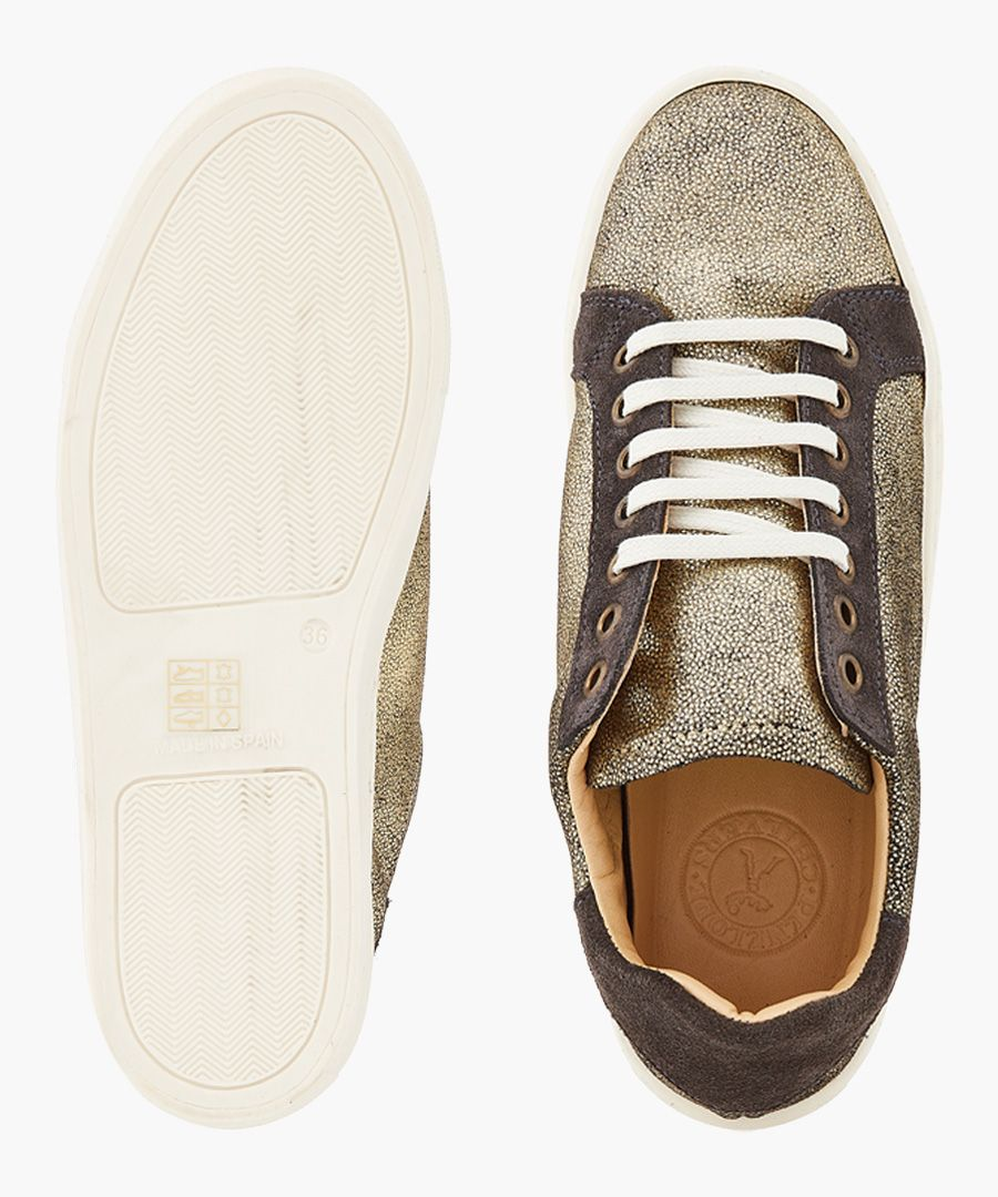 Pespace gold-tone leather sneakers