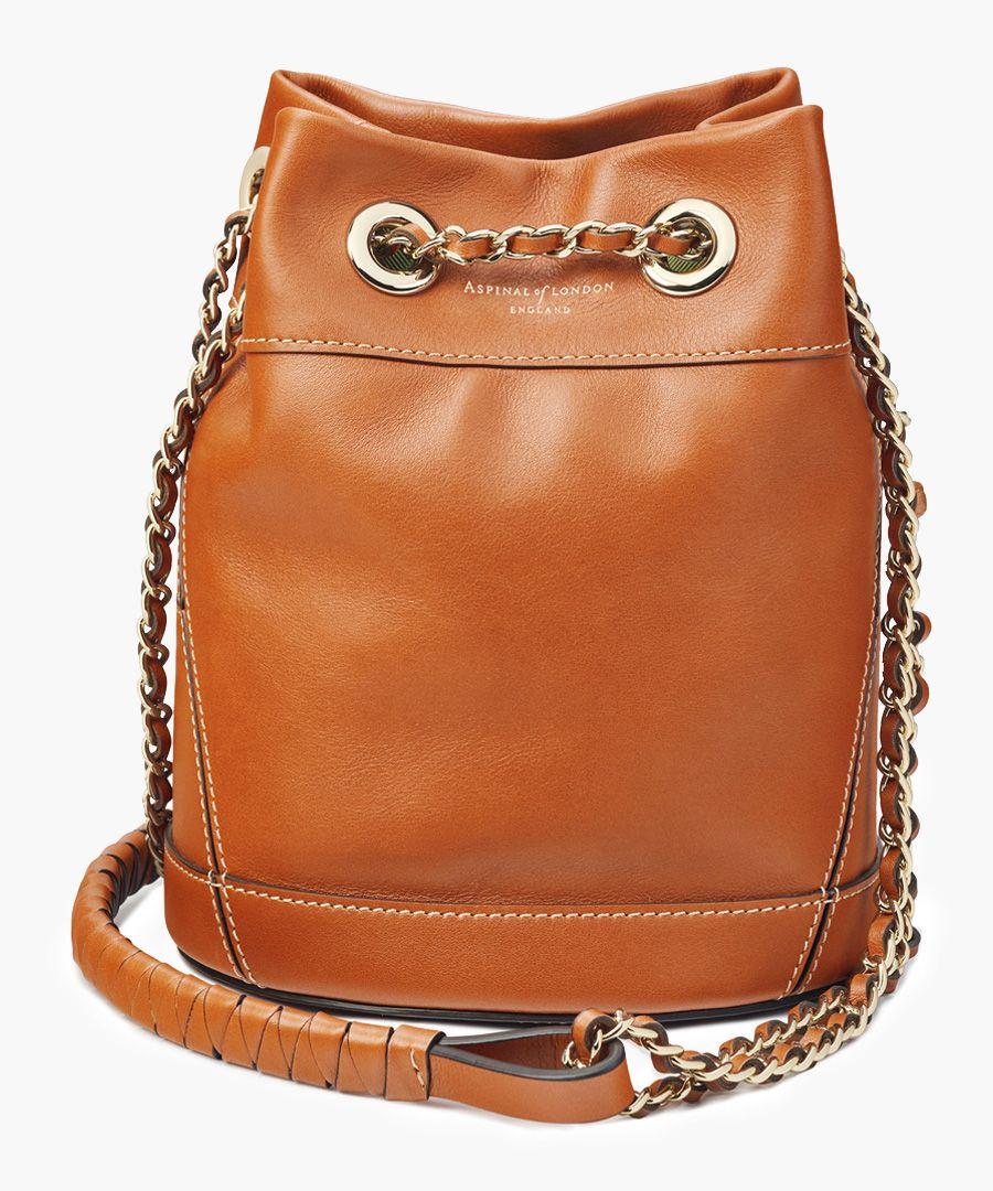 Tan leather bucket crossbody bag