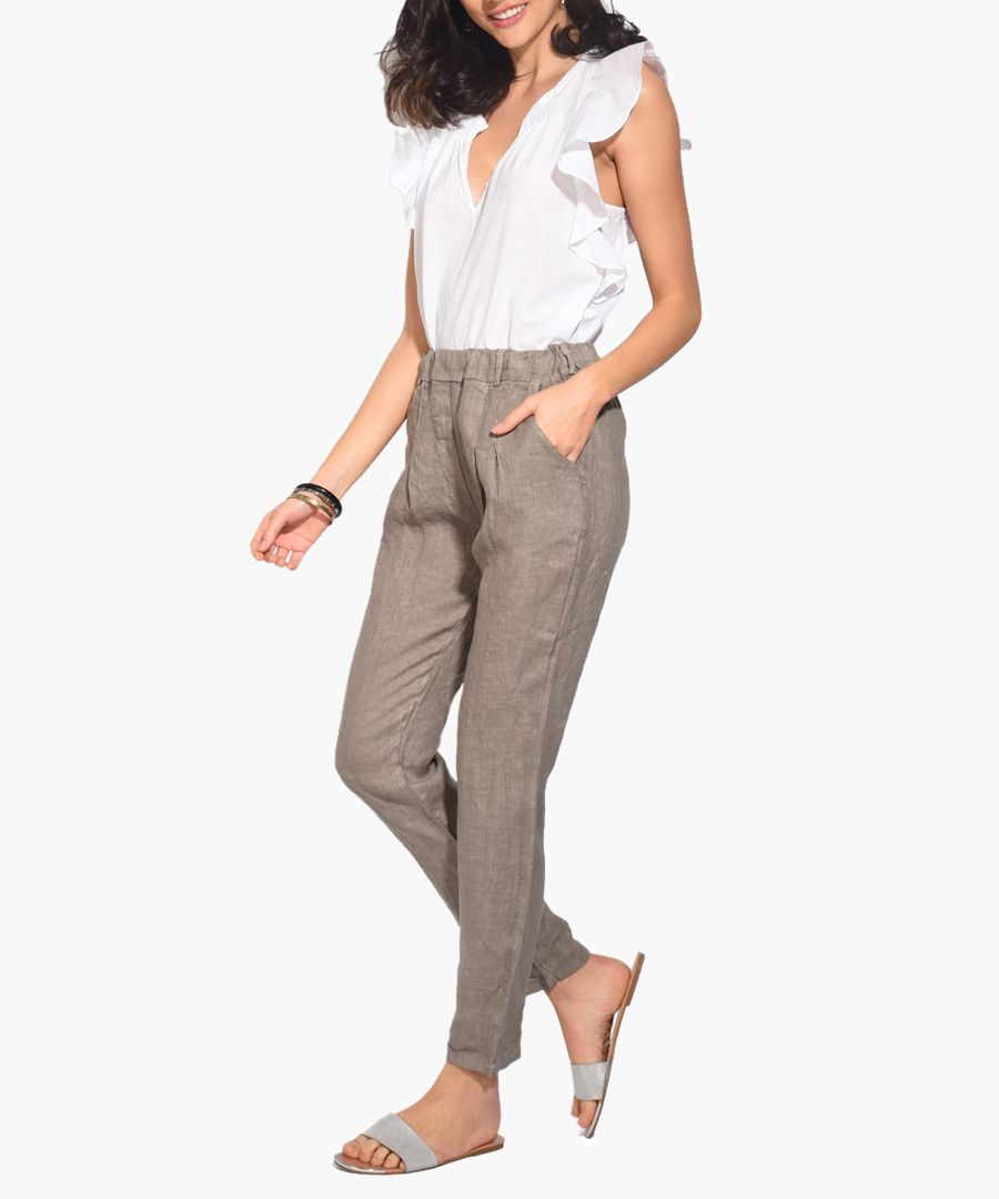 taupe pure linen trousers
