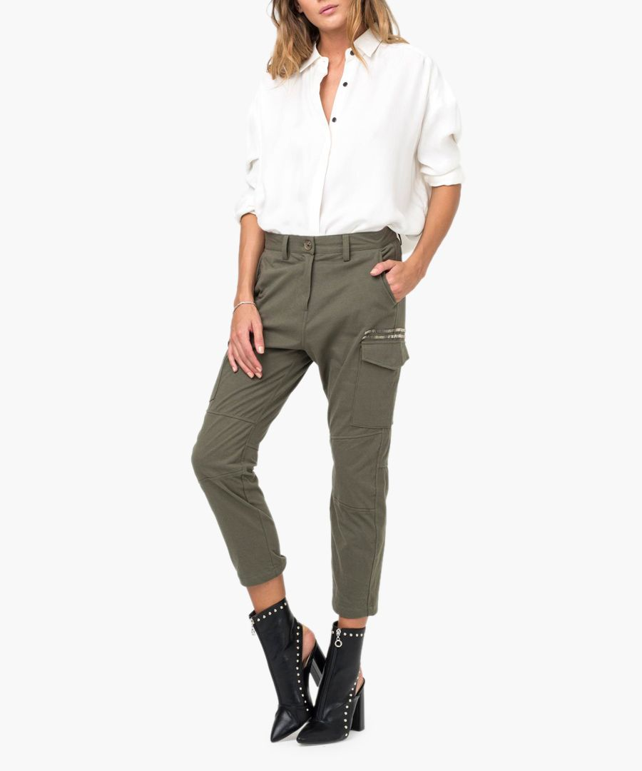 Directional khaki pure cotton trousers