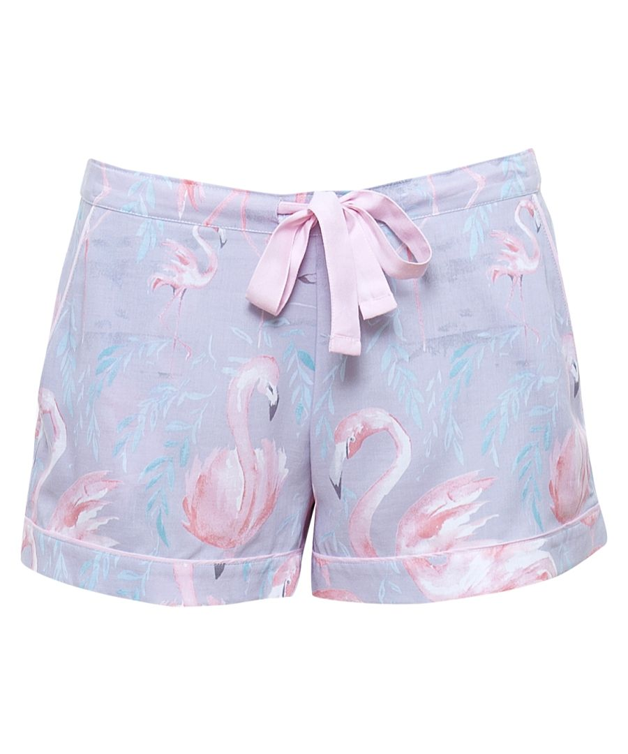 Zara grey cotton-blend flamingo pyjama shorts