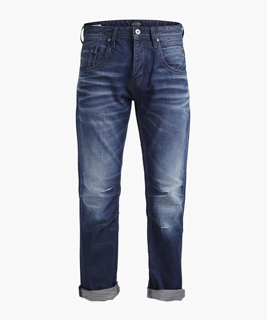 Boxy lead blue cotton regular jeans