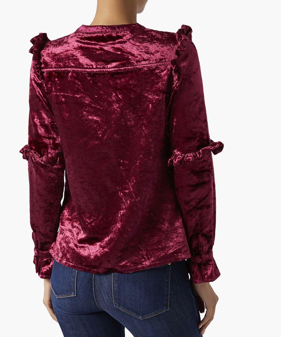 Viola bright maroon velvet blouse